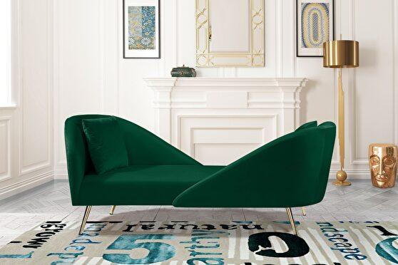 Double-back chaise in green velvet