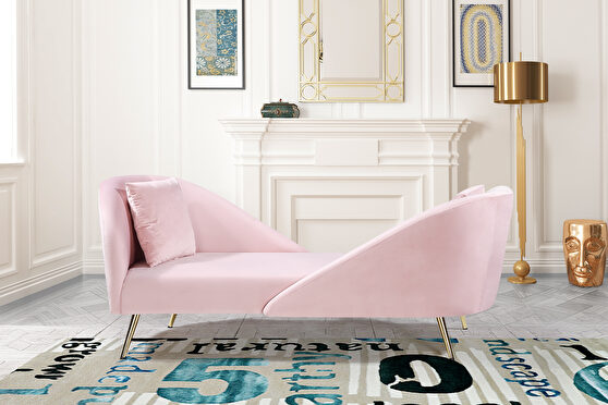 Double-back chaise in pink velvet
