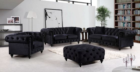Black velvet fabric rolled arms design sofa