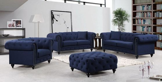 Navy linen fabric rolled arms design sofa set