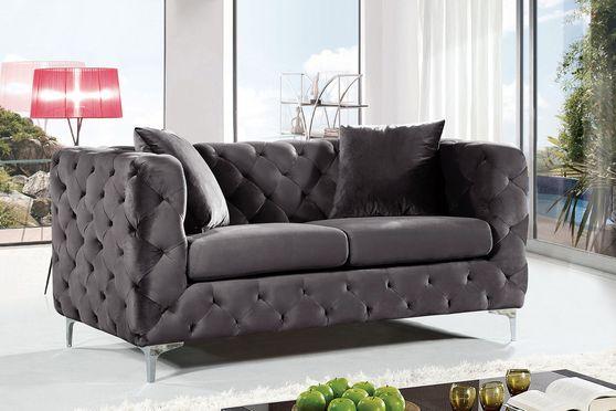 Contemporary tufted velvet fabric loveseat