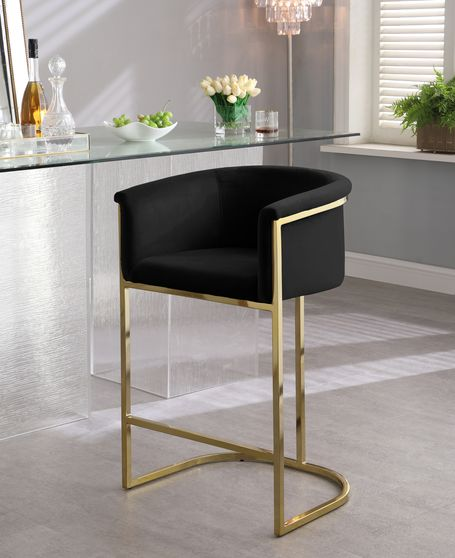Black velvet contemporary bar stool
