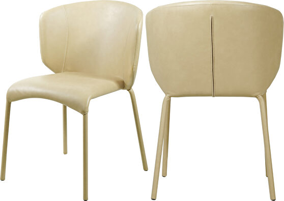 Soft vintage faux leather dining chair pair