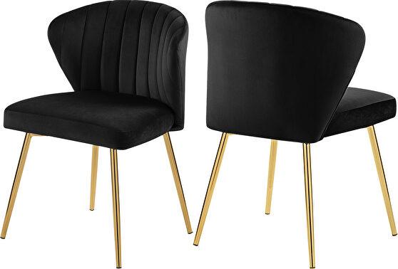 Velvet upholstery contemporary dining chair w/ gold legs
