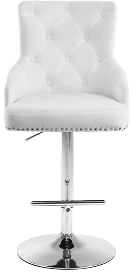 White velvet tufted adjustable height bar stool