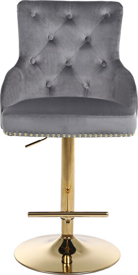 Gold base / nailhead trim gray velvet bar stool