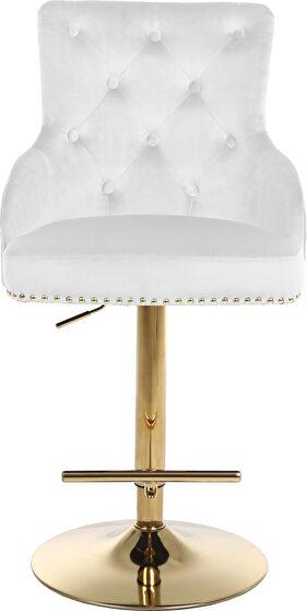 Gold base / nailhead trim white velvet bar stool