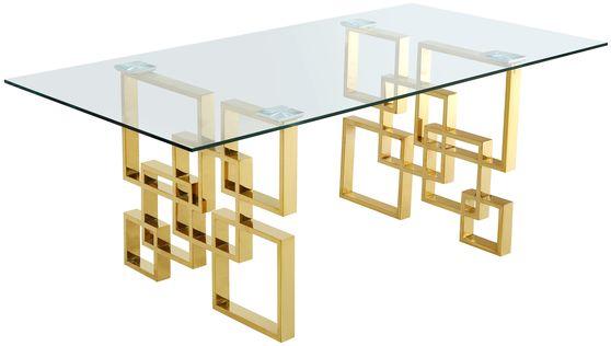 Rectangular glass top dining table w/ golden base