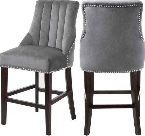 Gray velvet fabric bar stool w/ chrome nailhead trim