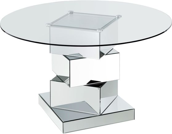 Round glass top / mirrored geometric base dining table