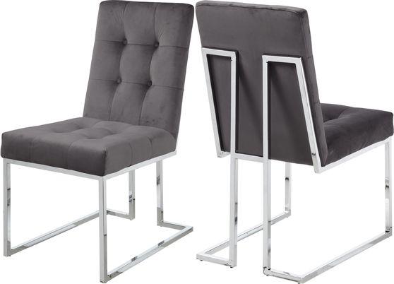 Stainless steel base / gray velvet contemporary dining chair