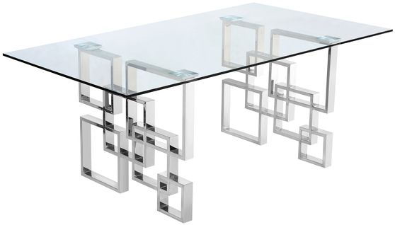 Chrome geometric base / glass top contemporary table