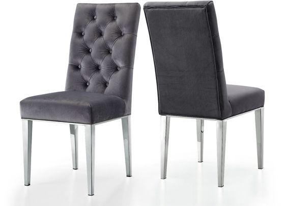 Modern gray velvet / rich chrome metal chair
