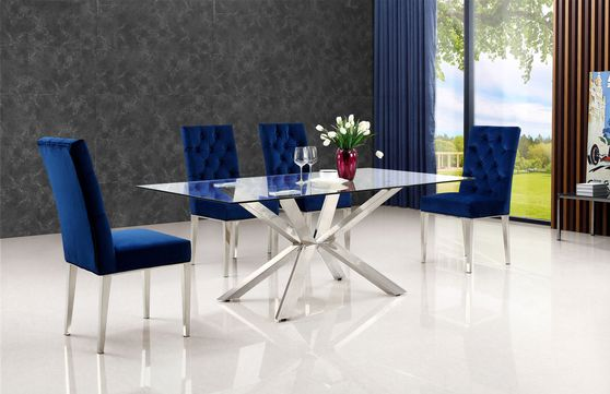 Modern multi-x shape dining table chrome/glass