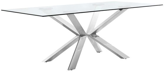 Rectangular glass top / silver metal base contemporary table