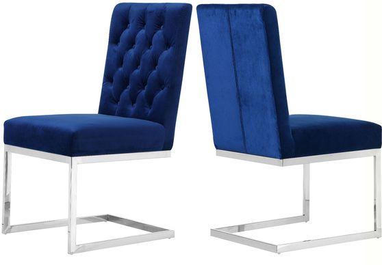 Stainless steel blue navy velvet modern dining chair