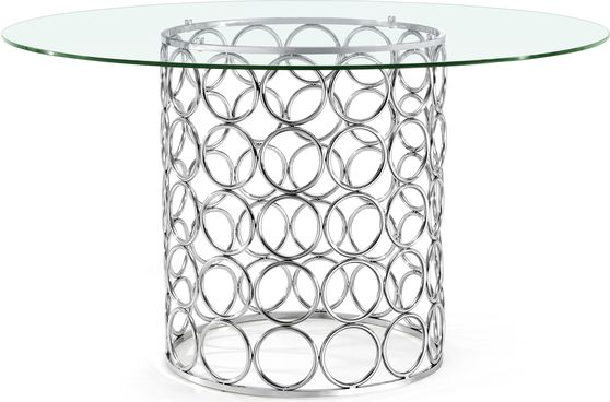 Round glass top / chrome wire base dining table