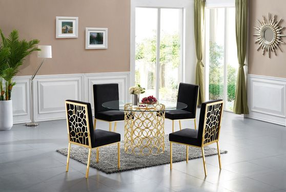 Round glass top contemporary dining table