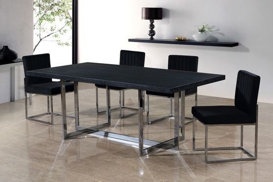 Contemporary black charcoal / chrome table