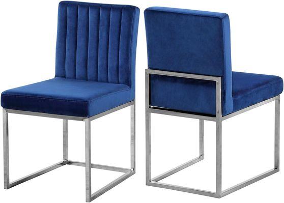 Contemporary navy velvet dining chair