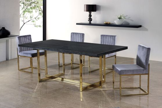 Gold / black charcoal contemporary dining table