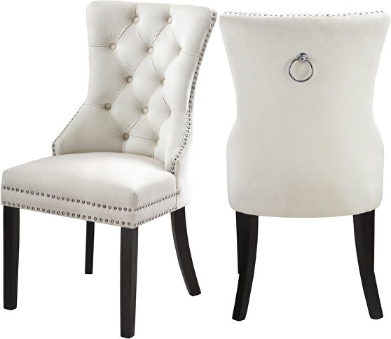 Traditional styled velvet dining chair w/ nailhead trim