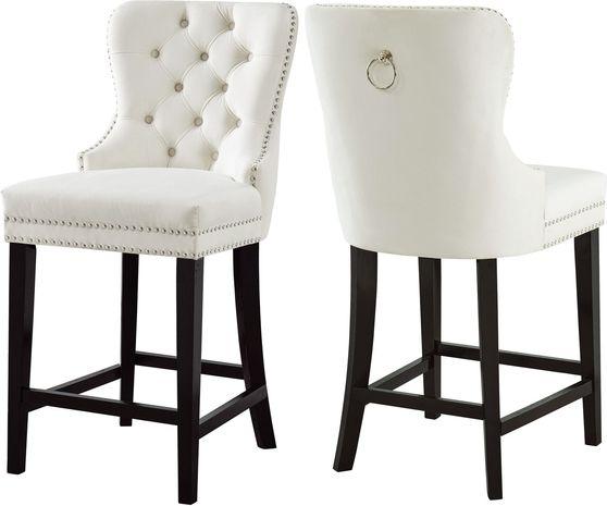 Contemporary cream 2pcs stool set