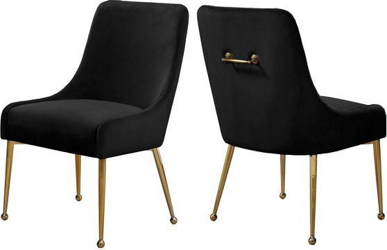 Black velvet dining chair w/ gold hardware