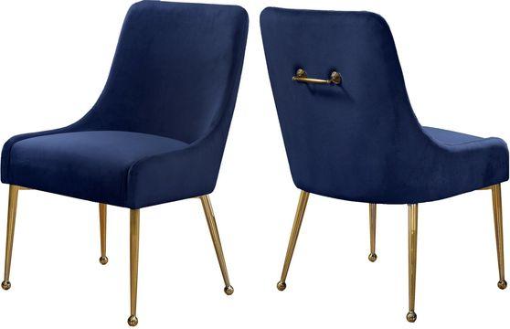 Navy velvet dining chair w/ gold hardware