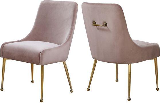 Pink velvet dining chair w/ gold hardware