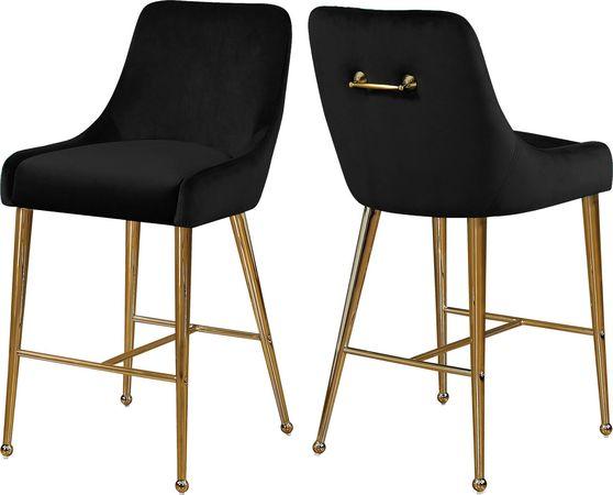 Black velvet bar stool w/ golden hardware and handle