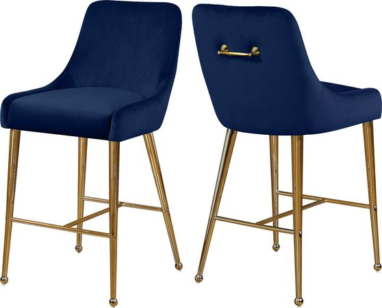 Navy velvet bar stool w/ golden hardware and handle