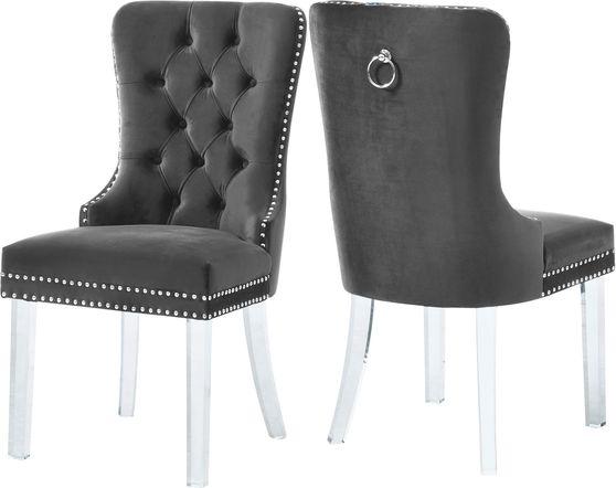 Gray velvet / tufted back / acrylic legs dining chair