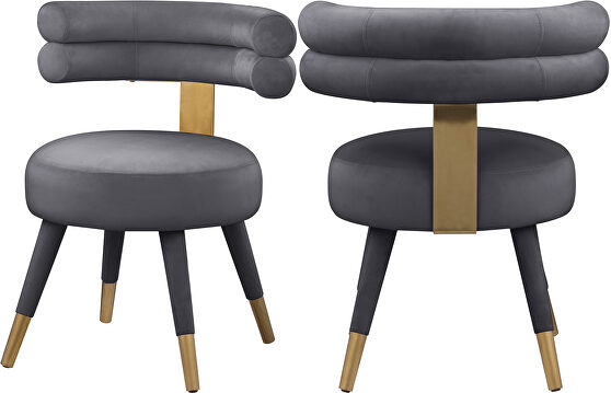 Round glam style dining chair w/ golden caps