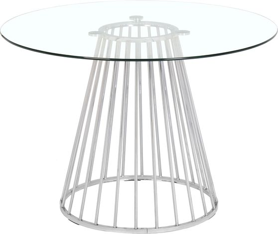 Round glass top / chrome base dining table