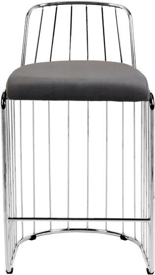 Gray velvet / chrome wired design bar stool