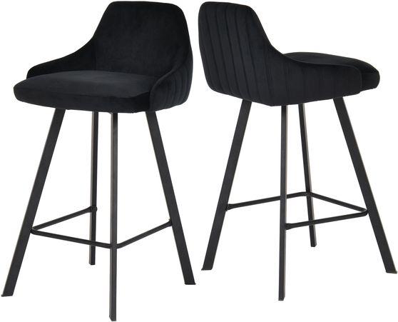 Pair of black velvet bar stools