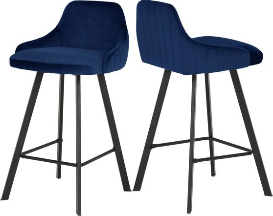 Pair of navy velvet bar stools