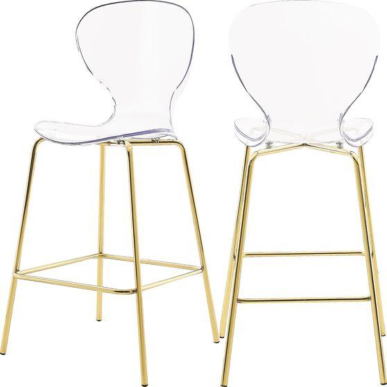 Transparent acrylic bar stool w/ gold metal base
