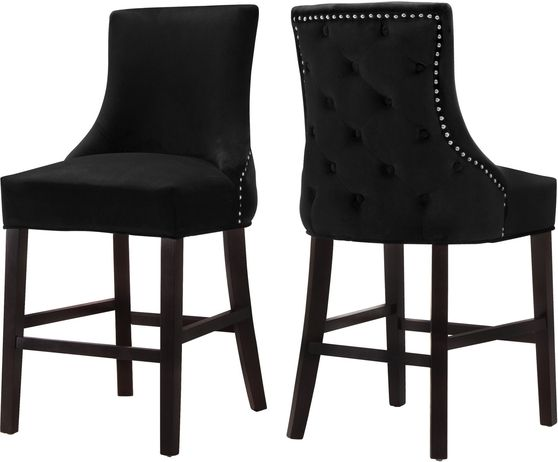 Set of black velvet contemporary stools