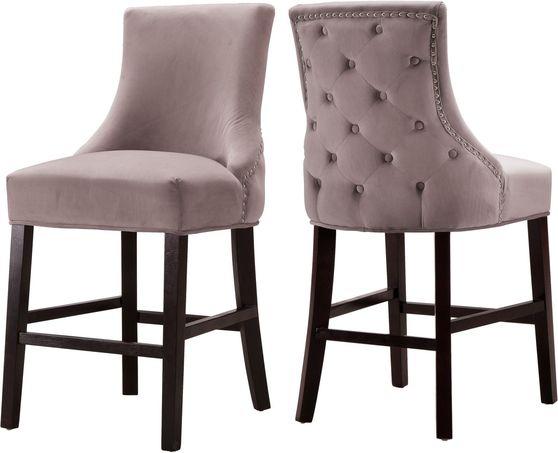 Set of pink velvet contemporary stools