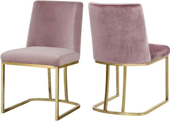 Elegant contemporary gold / pink velvet dining chair