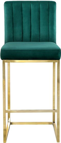 Green velvet fabric / gold base bar height stool