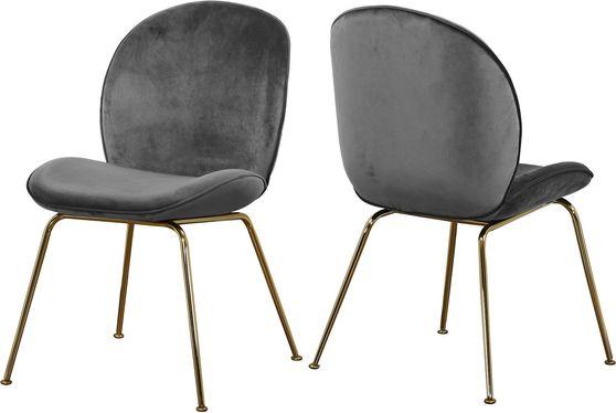 Gray velvet dining chair w/ golden legs