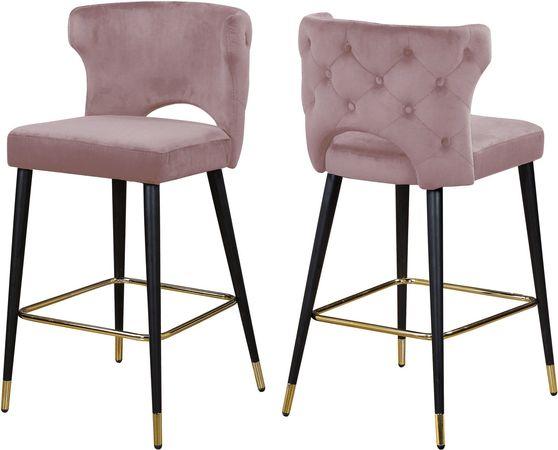 Pink velvet bar stool