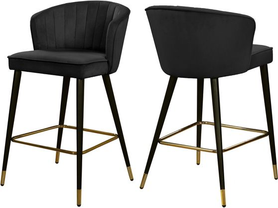 Black velvet modern bar stool