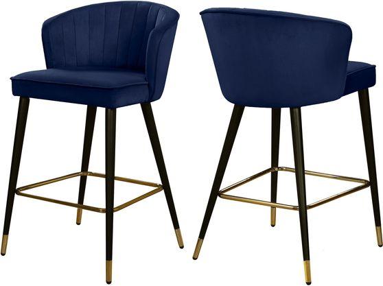 Navy velvet modern bar stool