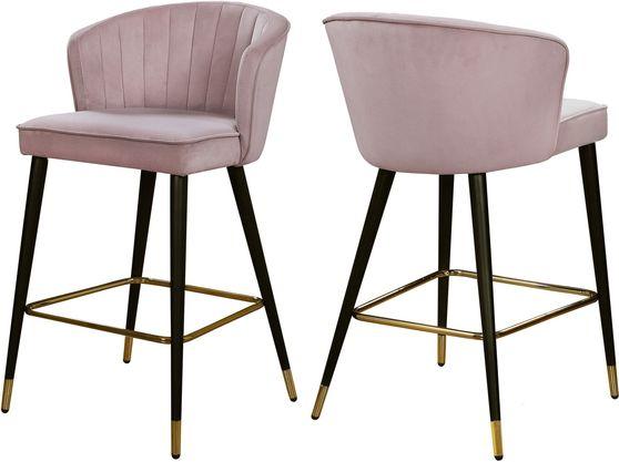 Pink velvet modern bar stool