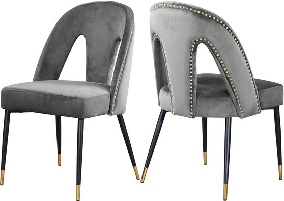 Gray velvet dining chair w/ nailhead trim