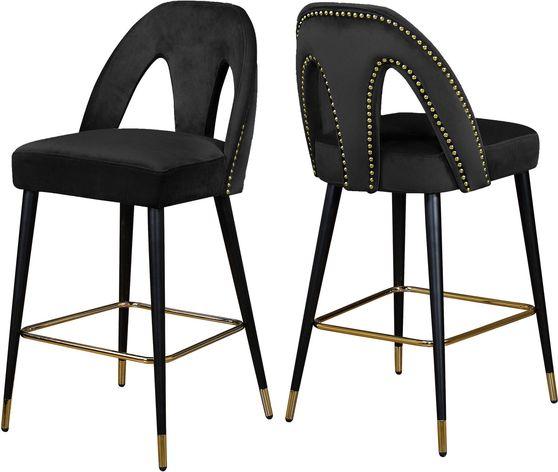 Black velvet stylish bar stool w/ black/gold legs